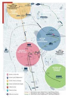 Plan : secteurs hôteliers de Saint-Etienne Centre